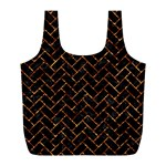 BRICK2 BLACK MARBLE & COPPER FOIL Full Print Recycle Bags (L)  Front
