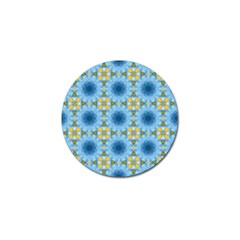 Blue Nice Daisy Flower Ang Yellow Squares Golf Ball Marker (4 Pack)