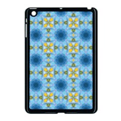 Blue Nice Daisy Flower Ang Yellow Squares Apple Ipad Mini Case (black) by MaryIllustrations