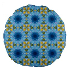 Blue Nice Daisy Flower Ang Yellow Squares Large 18  Premium Round Cushions by MaryIllustrations