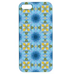 Blue Nice Daisy Flower Ang Yellow Squares Apple Iphone 5 Hardshell Case With Stand by MaryIllustrations