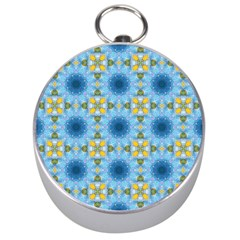 Blue Nice Daisy Flower Ang Yellow Squares Silver Compasses by MaryIllustrations