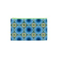 Blue Nice Daisy Flower Ang Yellow Squares Cosmetic Bag (xs) by MaryIllustrations