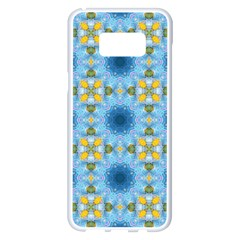 Blue Nice Daisy Flower Ang Yellow Squares Samsung Galaxy S8 Plus White Seamless Case by MaryIllustrations