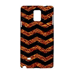 Chevron3 Black Marble & Copper Foil Samsung Galaxy Note 4 Hardshell Case by trendistuff