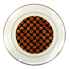 Circles2 Black Marble & Copper Foil Porcelain Plates by trendistuff