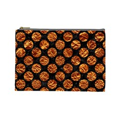 Circles2 Black Marble & Copper Foil Cosmetic Bag (large)  by trendistuff