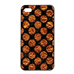 Circles2 Black Marble & Copper Foil Apple Iphone 4/4s Seamless Case (black) by trendistuff