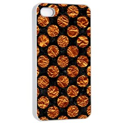 Circles2 Black Marble & Copper Foil Apple Iphone 4/4s Seamless Case (white) by trendistuff