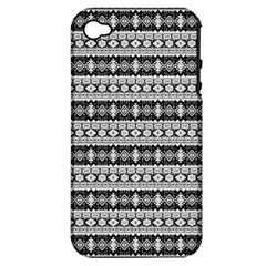 Fancy Tribal Border Pattern 17b Apple Iphone 4/4s Hardshell Case (pc+silicone) by MoreColorsinLife