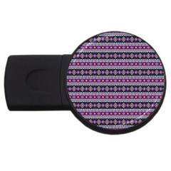 Fancy Tribal Border Pattern 17c Usb Flash Drive Round (2 Gb) by MoreColorsinLife
