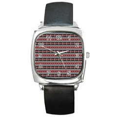 Fancy Tribal Border Pattern 17f Square Metal Watch by MoreColorsinLife