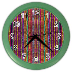 Star Fall In  Retro Peacock Colors Color Wall Clocks by pepitasart