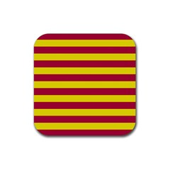 Red & Yellow Stripesi Rubber Square Coaster (4 Pack)  by norastpatrick