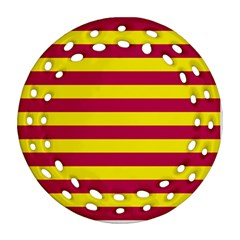 Red & Yellow Stripesi Round Filigree Ornament (two Sides) by norastpatrick