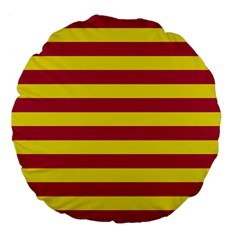 Red & Yellow Stripesi Large 18  Premium Flano Round Cushions by norastpatrick