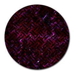 Woven2 Black Marble & Burgundy Marble (r) Round Mousepads by trendistuff