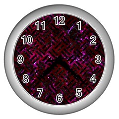 Woven2 Black Marble & Burgundy Marble (r) Wall Clocks (silver)  by trendistuff