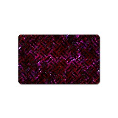 Woven2 Black Marble & Burgundy Marble (r) Magnet (name Card) by trendistuff