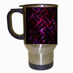 Woven2 Black Marble & Burgundy Marble (r) Travel Mugs (white) by trendistuff