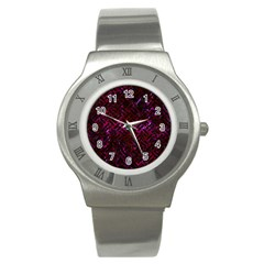 Woven2 Black Marble & Burgundy Marble (r) Stainless Steel Watch by trendistuff