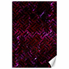 Woven2 Black Marble & Burgundy Marble (r) Canvas 24  X 36  by trendistuff