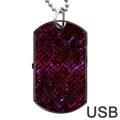Woven2 Black Marble & Burgundy Marble (r) Dog Tag Usb Flash (one Side) by trendistuff