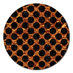 Circles2 Black Marble & Copper Foil (r) Magnet 5  (round) by trendistuff