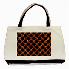 Circles2 Black Marble & Copper Foil (r) Basic Tote Bag (two Sides) by trendistuff