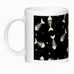 Fish Bones Pattern Night Luminous Mugs by Valentinaart