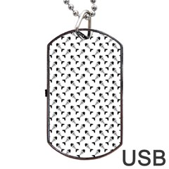 Fish Bones Pattern Dog Tag Usb Flash (two Sides) by Valentinaart