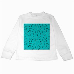 Fish Bones Pattern Kids Long Sleeve T Shirts by ValentinaDesign