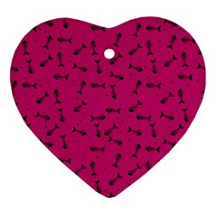 Fish Bones Pattern Heart Ornament (two Sides)