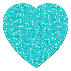Fish Bones Pattern Jigsaw Puzzle (heart) by ValentinaDesign