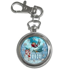 Christmas Design, Santa Claus With Reindeer In The Sky Key Chain Watches by FantasyWorld7