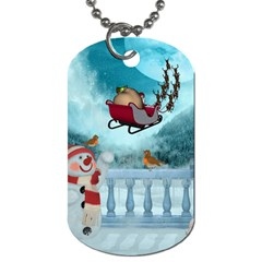 Christmas Design, Santa Claus With Reindeer In The Sky Dog Tag (one Side) by FantasyWorld7