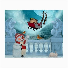 Christmas Design, Santa Claus With Reindeer In The Sky Small Glasses Cloth by FantasyWorld7