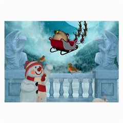 Christmas Design, Santa Claus With Reindeer In The Sky Large Glasses Cloth (2-side) by FantasyWorld7