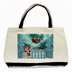 Christmas Design, Santa Claus With Reindeer In The Sky Basic Tote Bag (two Sides) by FantasyWorld7