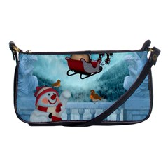 Christmas Design, Santa Claus With Reindeer In The Sky Shoulder Clutch Bags by FantasyWorld7