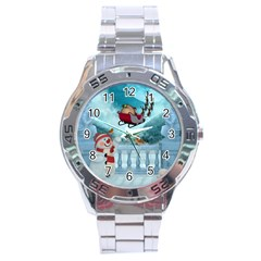 Christmas Design, Santa Claus With Reindeer In The Sky Stainless Steel Analogue Watch by FantasyWorld7