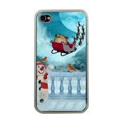 Christmas Design, Santa Claus With Reindeer In The Sky Apple Iphone 4 Case (clear) by FantasyWorld7