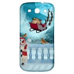 Christmas Design, Santa Claus With Reindeer In The Sky Samsung Galaxy S3 S Iii Classic Hardshell Back Case by FantasyWorld7
