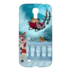 Christmas Design, Santa Claus With Reindeer In The Sky Samsung Galaxy S4 I9500/i9505 Hardshell Case