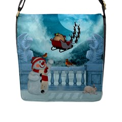 Christmas Design, Santa Claus With Reindeer In The Sky Flap Messenger Bag (l)  by FantasyWorld7