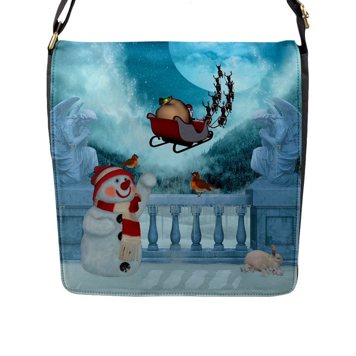 Christmas Design, Santa Claus With Reindeer In The Sky Flap Messenger Bag (L)