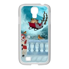 Christmas Design, Santa Claus With Reindeer In The Sky Samsung Galaxy S4 I9500/ I9505 Case (white) by FantasyWorld7