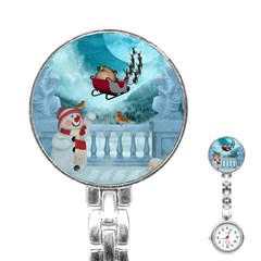 Christmas Design, Santa Claus With Reindeer In The Sky Stainless Steel Nurses Watch by FantasyWorld7