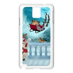 Christmas Design, Santa Claus With Reindeer In The Sky Samsung Galaxy Note 3 N9005 Case (white) by FantasyWorld7