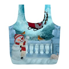 Christmas Design, Santa Claus With Reindeer In The Sky Full Print Recycle Bags (l)  by FantasyWorld7